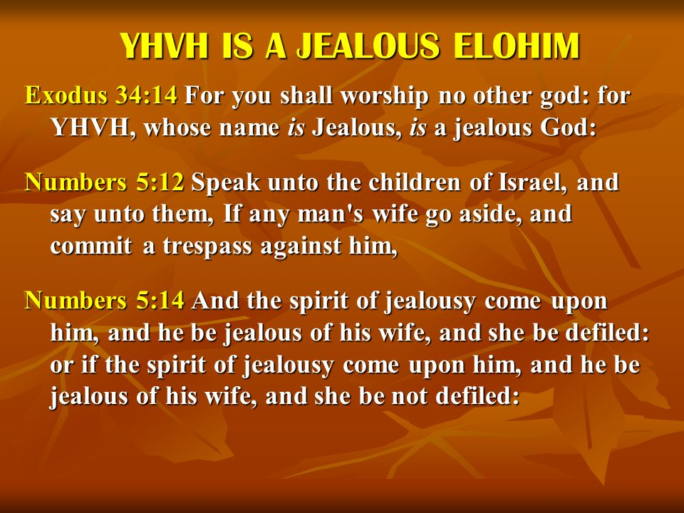 YHVH IS A JEALOUS ELOHIM