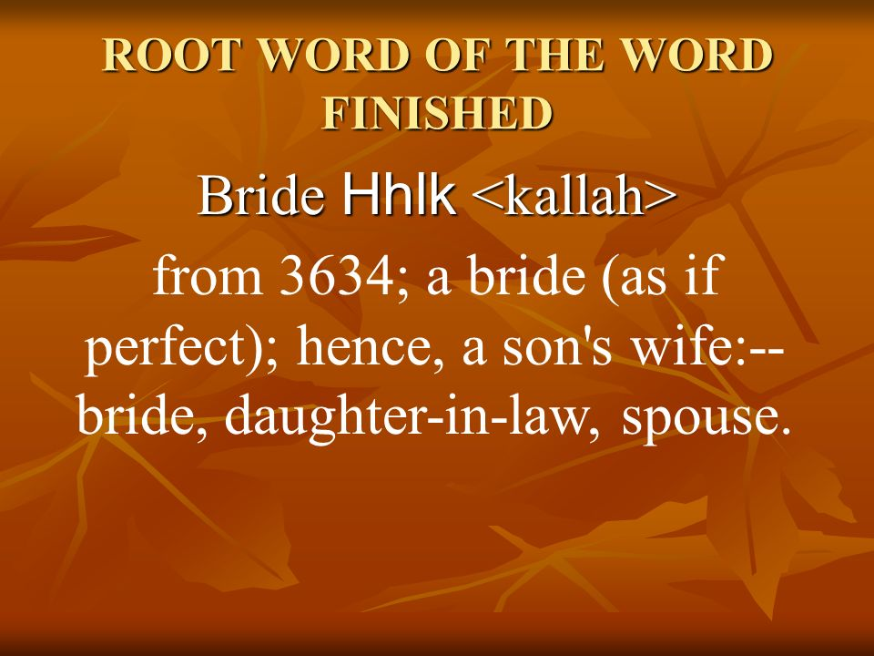 ROOT WORD OF THE WORD FINISHED