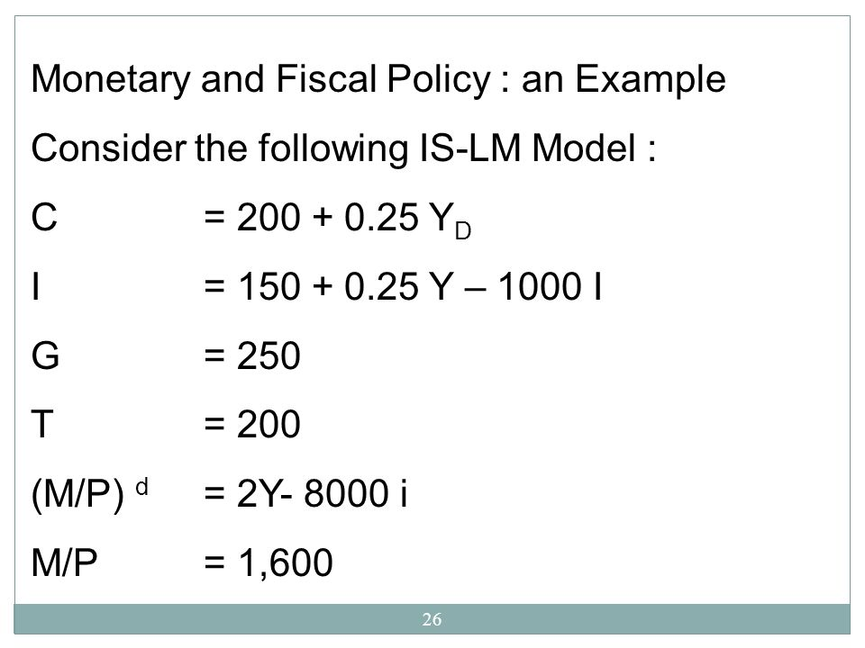 Monetary and Fiscal Policy : an Example