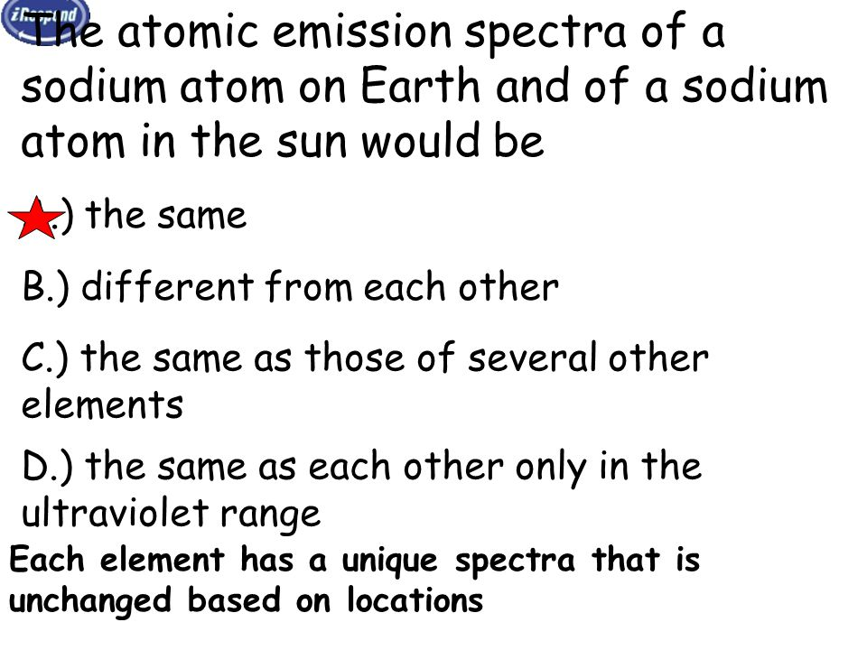 The atomic emission spectra of a sodium atom on Earth and of a sodium atom in the sun would be