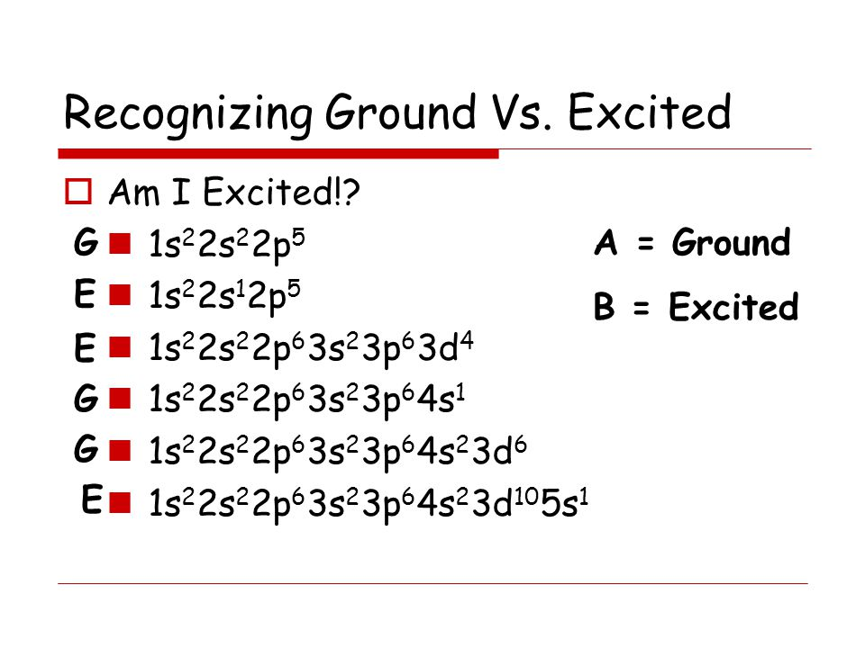 Recognizing Ground Vs. Excited