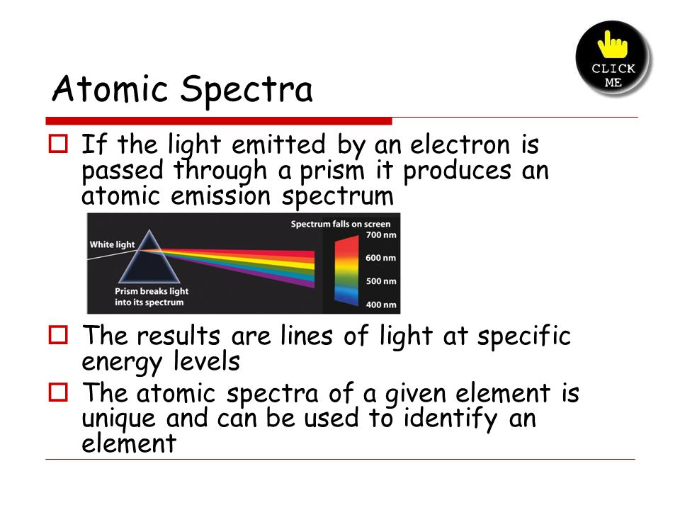 Atomic Spectra 1. If the light emitted by an electron is passed through a prism it produces an atomic emission spectrum.