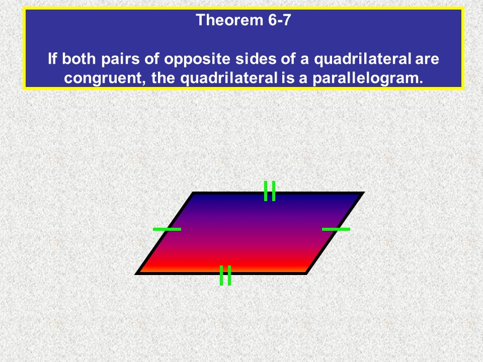 Theorem 6-7 If both pairs of opposite sides of a quadrilateral are congruent, the quadrilateral is a parallelogram.