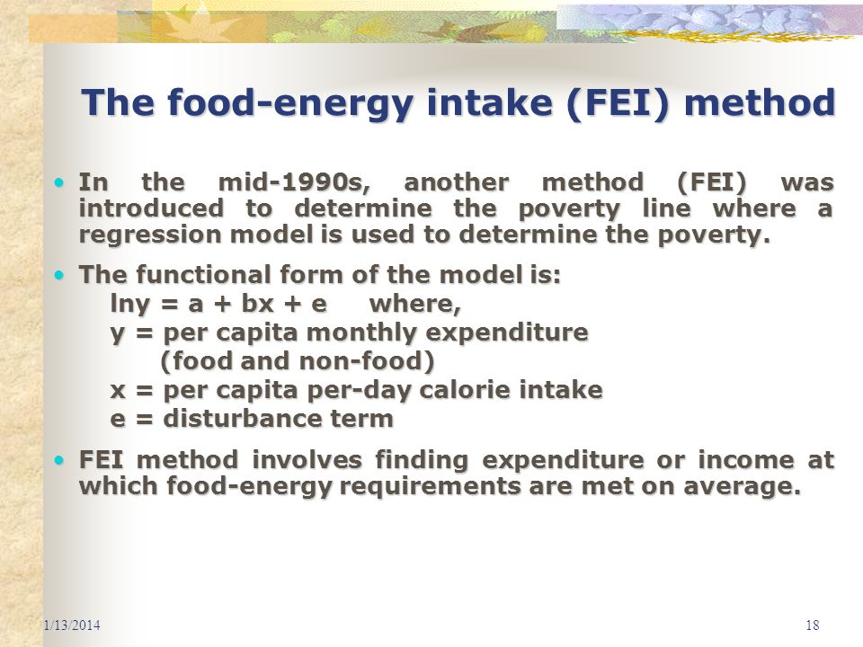 The food-energy intake (FEI) method