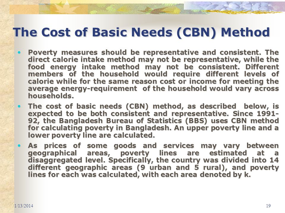 The Cost of Basic Needs (CBN) Method