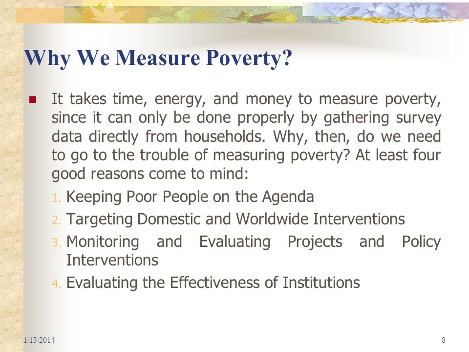 Why We Measure Poverty