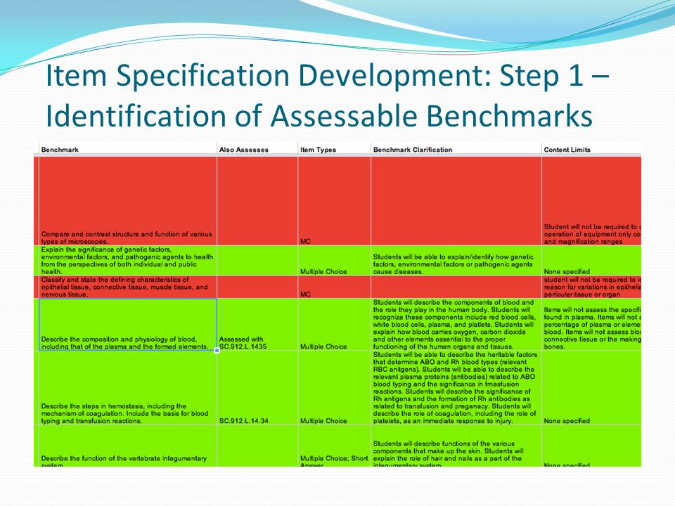 Item Specification Development: Step 1 – Identification of Assessable Benchmarks