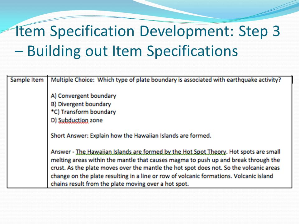 Item Specification Development: Step 3 – Building out Item Specifications