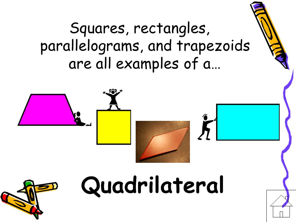 Squares, rectangles, parallelograms, and trapezoids are all examples of a…