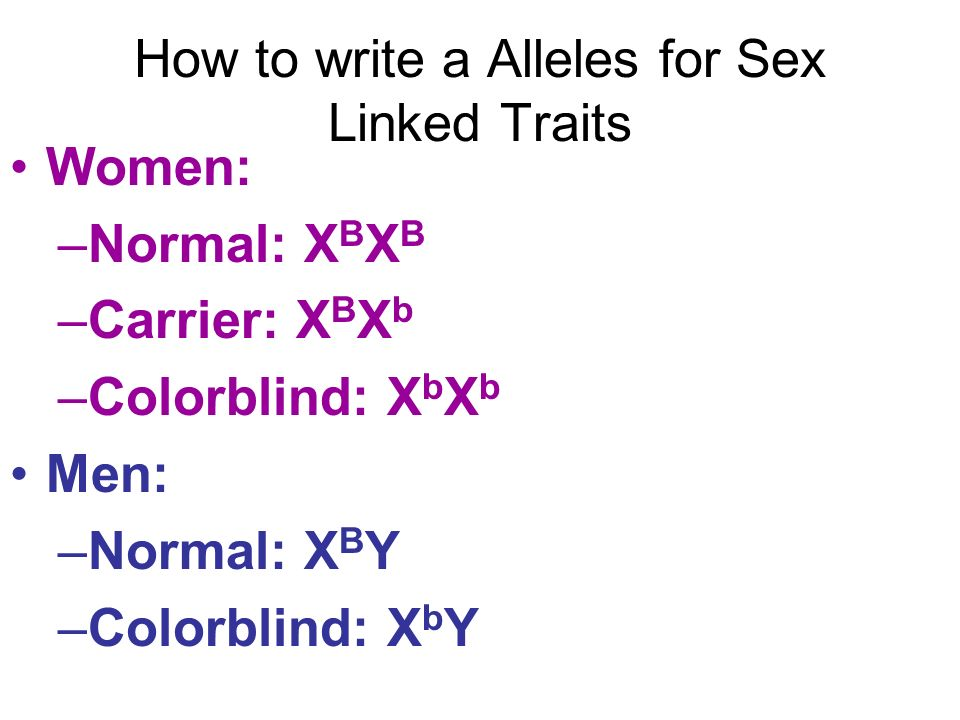 How to write a Alleles for Sex Linked Traits