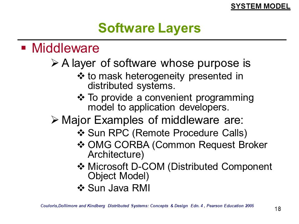 Software Layers Middleware A layer of software whose purpose is