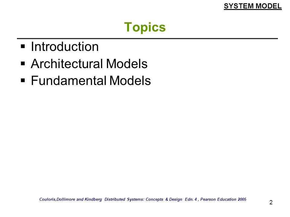 Topics Introduction Architectural Models Fundamental Models