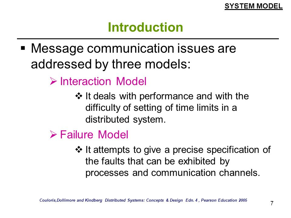 Message communication issues are addressed by three models: