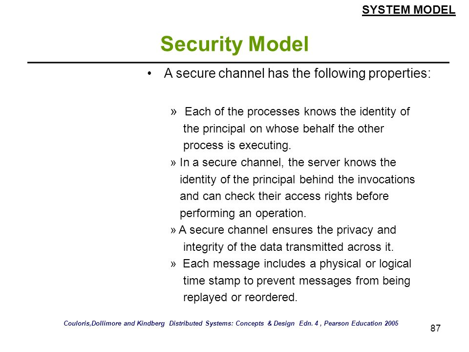 Security Model A secure channel has the following properties: