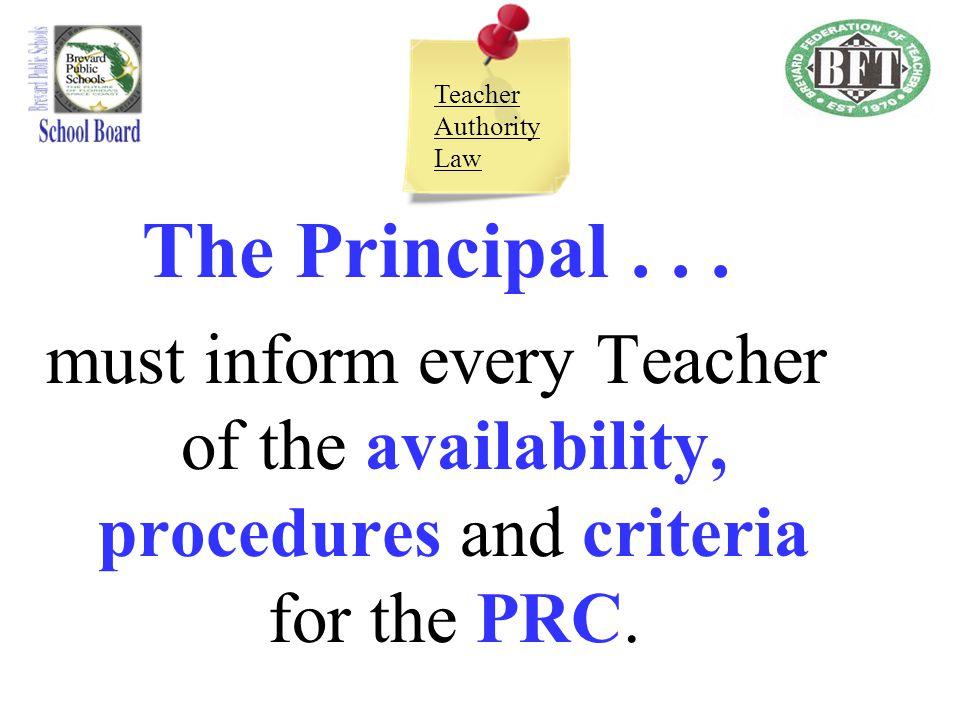 Teacher Authority Law The Principal .