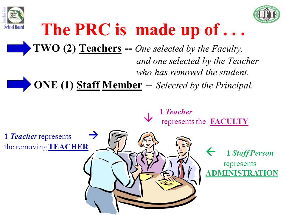 The PRC is made up of . . . TWO (2) Teachers -- One selected by the Faculty, and one selected by the Teacher.