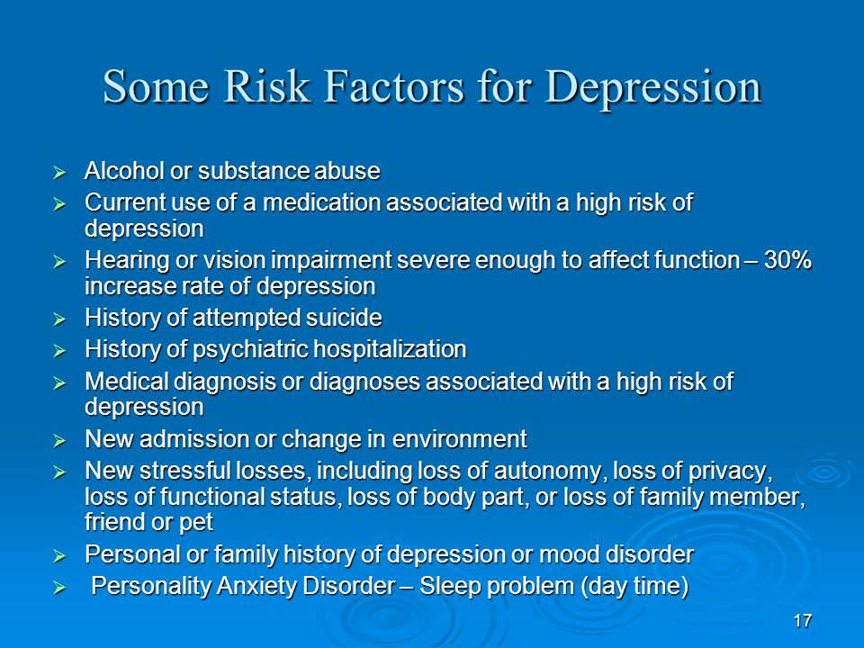Some Risk Factors for Depression