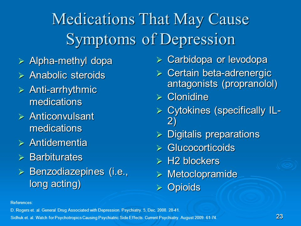 Medications That May Cause Symptoms of Depression