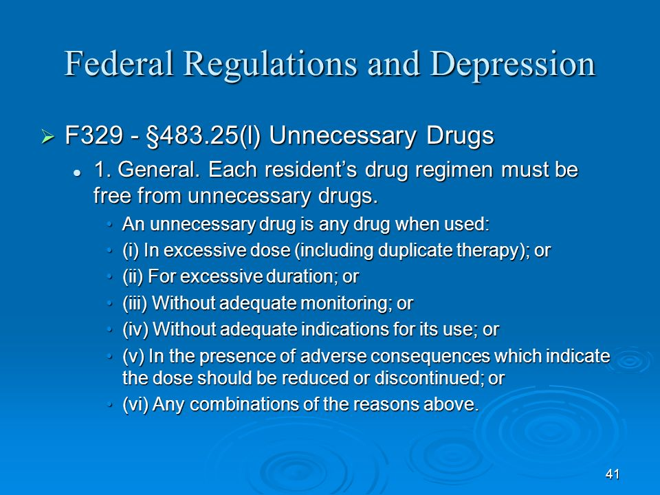 Federal Regulations and Depression