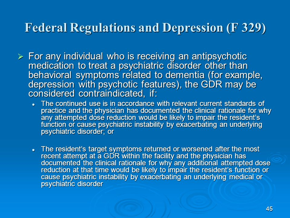 Federal Regulations and Depression (F 329)