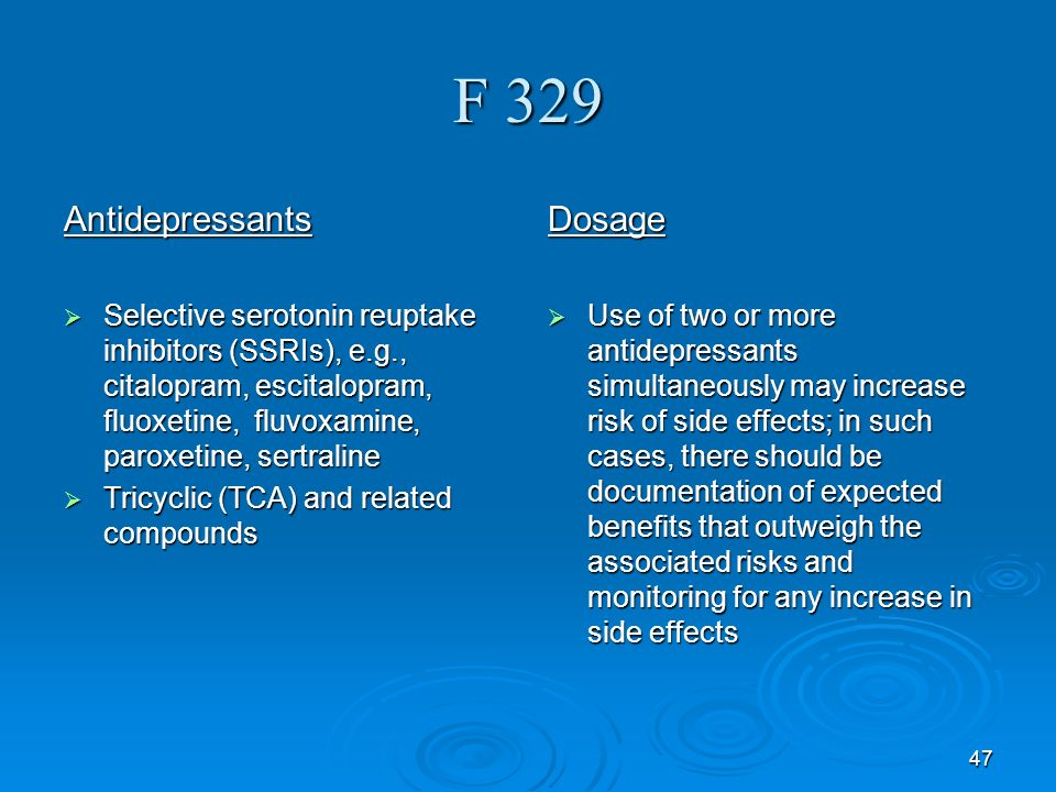 F 329 Antidepressants Dosage