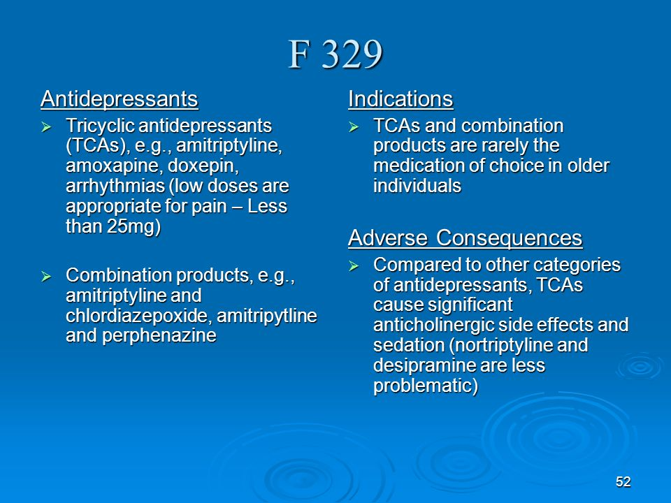 F 329 Antidepressants Indications Adverse Consequences