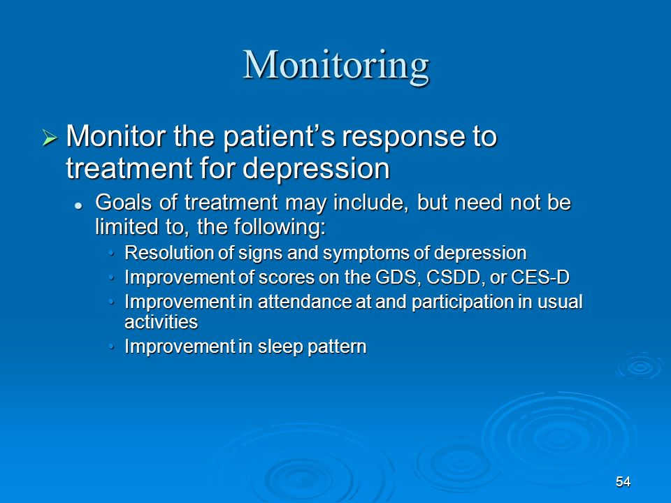 Monitoring Monitor the patient's response to treatment for depression