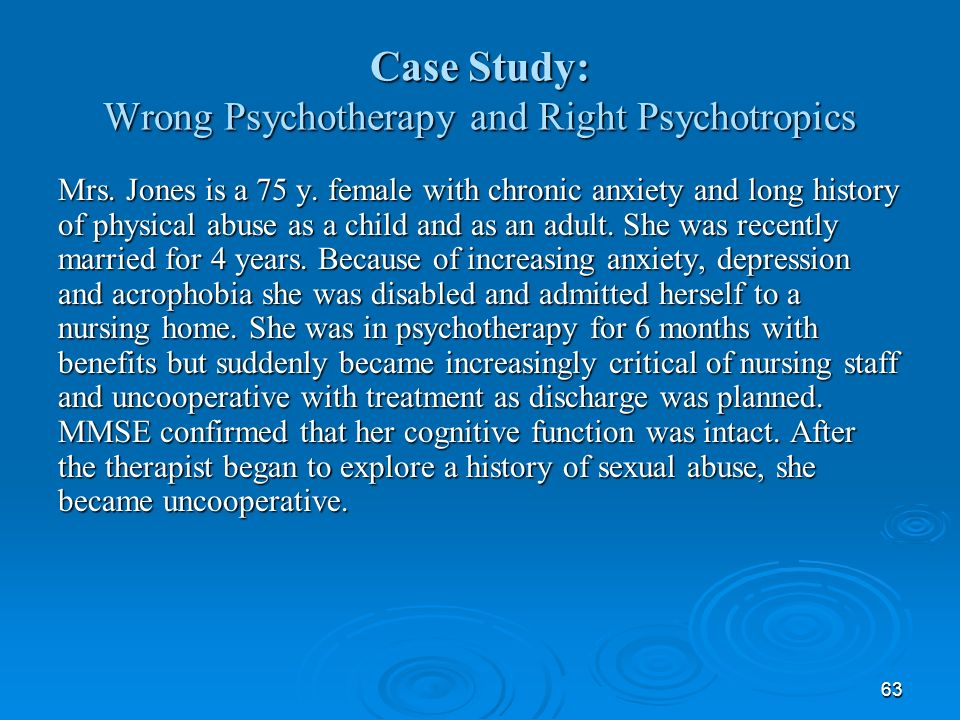 Case Study: Wrong Psychotherapy and Right Psychotropics