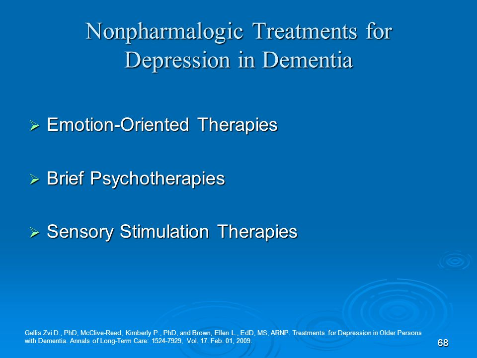 Nonpharmalogic Treatments for Depression in Dementia
