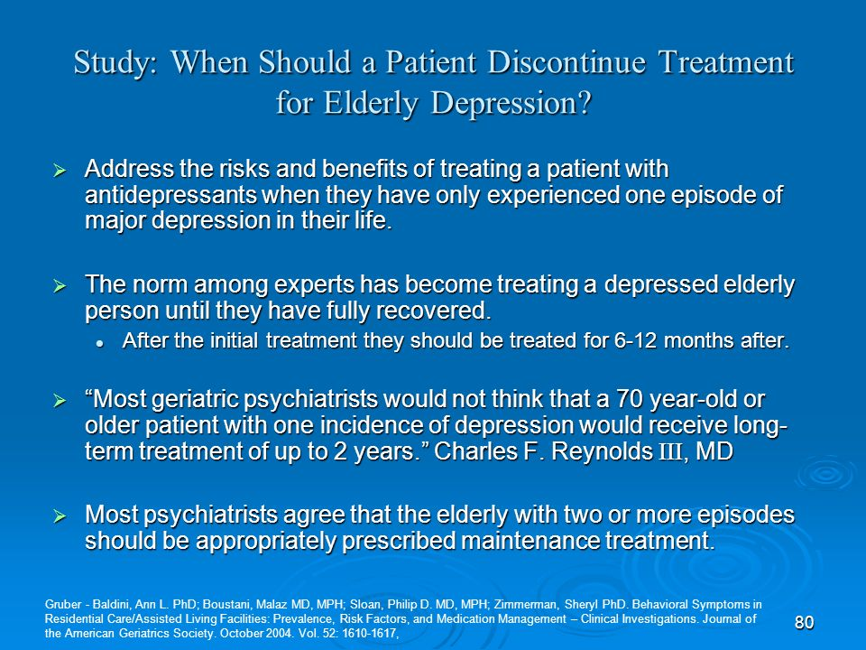 Study: When Should a Patient Discontinue Treatment for Elderly Depression