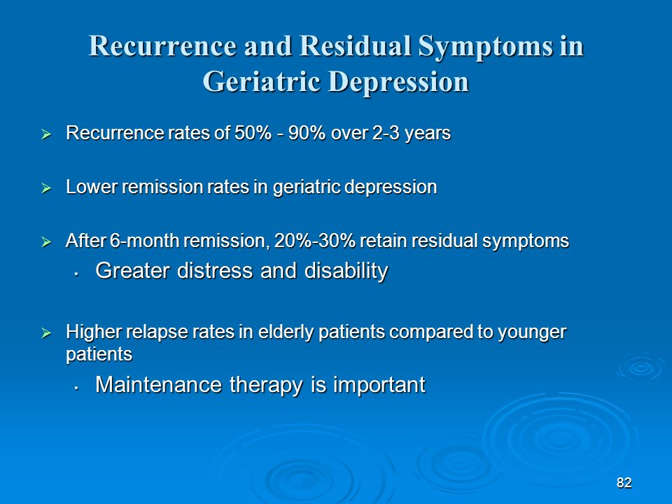 Recurrence and Residual Symptoms in Geriatric Depression