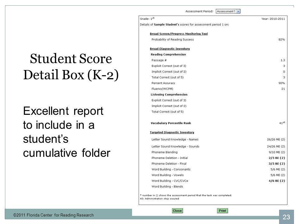 Student Score Detail Box (K-2)