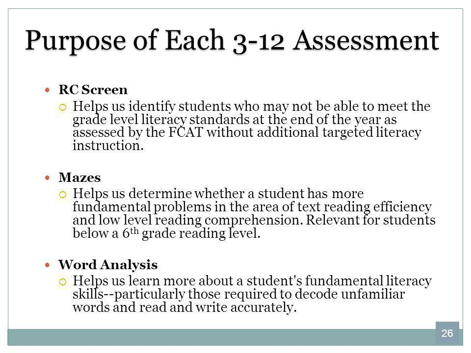 Purpose of Each 3-12 Assessment