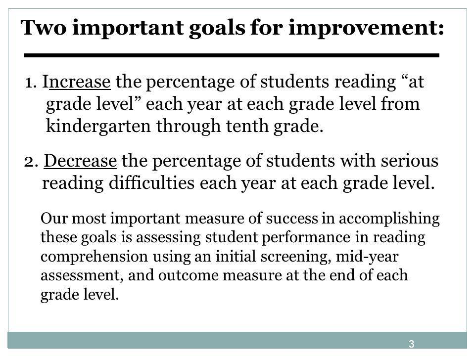 Two important goals for improvement:
