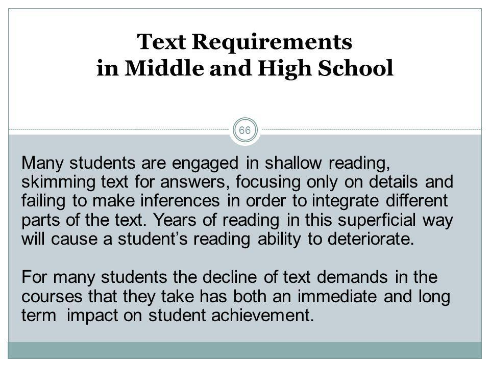 Text Requirements in Middle and High School