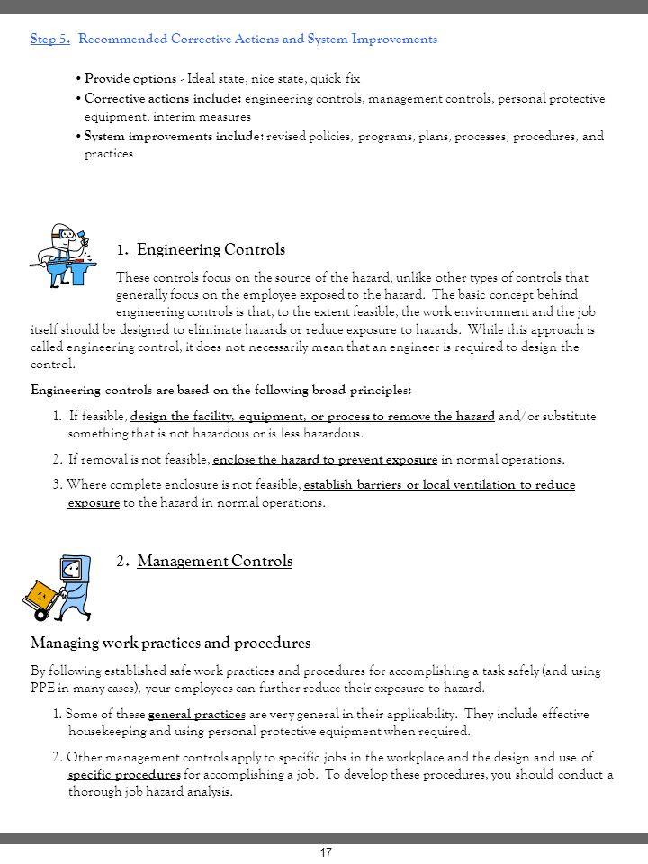 Managing work practices and procedures