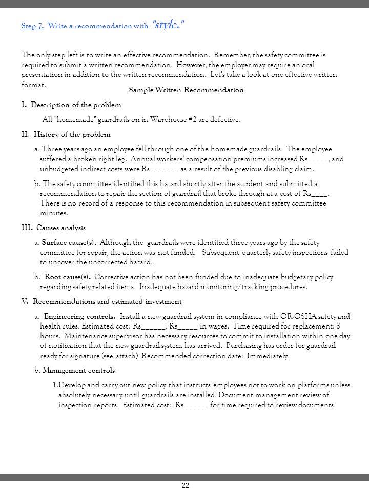 Sample Written Recommendation
