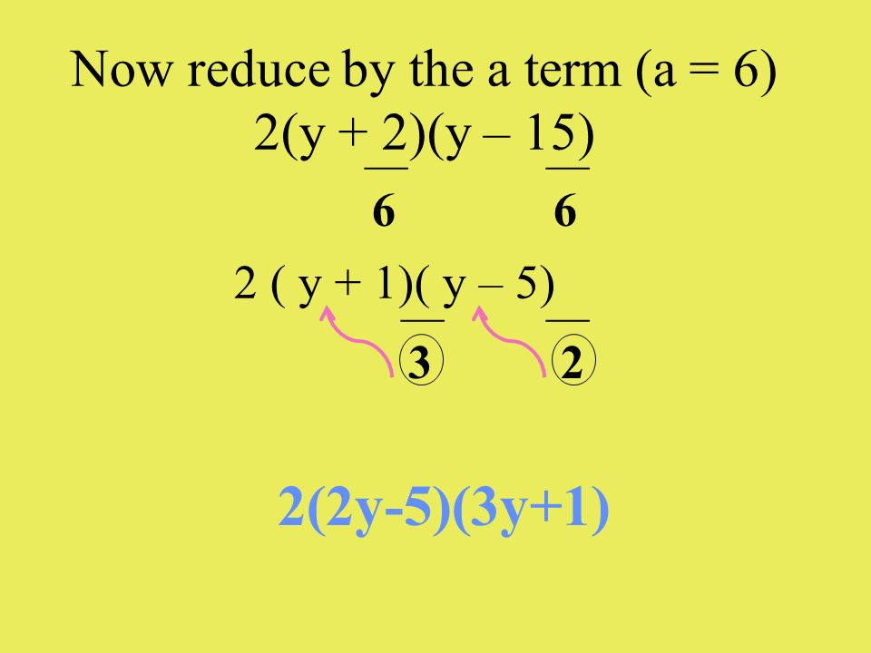 Now reduce by the a term (a = 6) 2(y + 2)(y – 15)