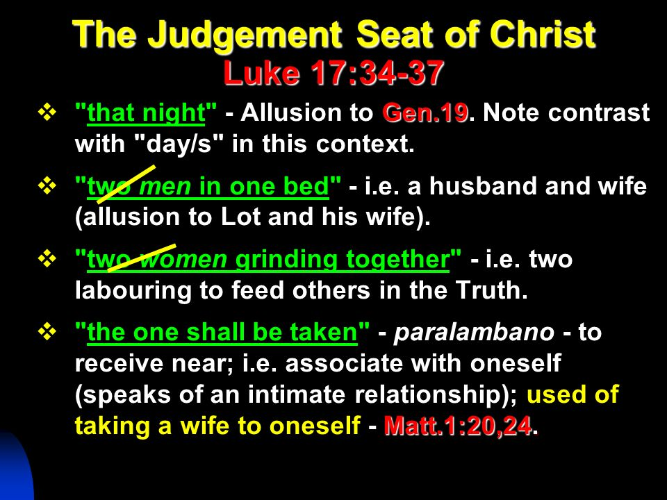 The Judgement Seat of Christ Luke 17:34-37