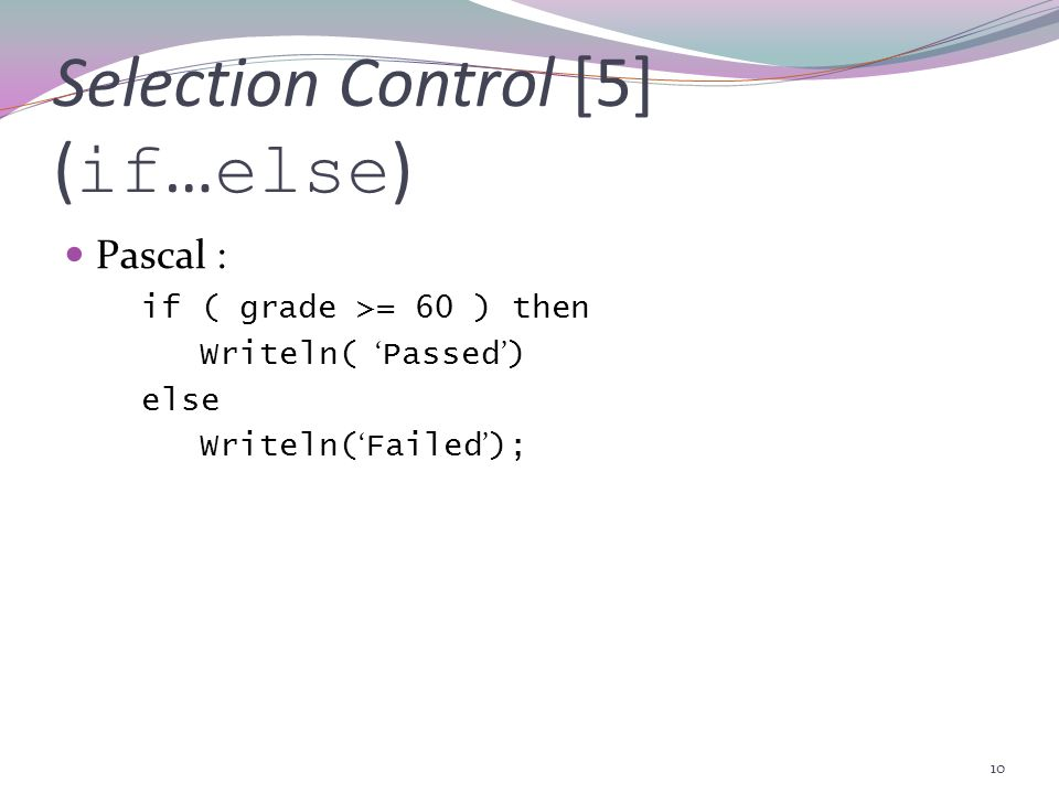 Selection Control [5] (if…else)