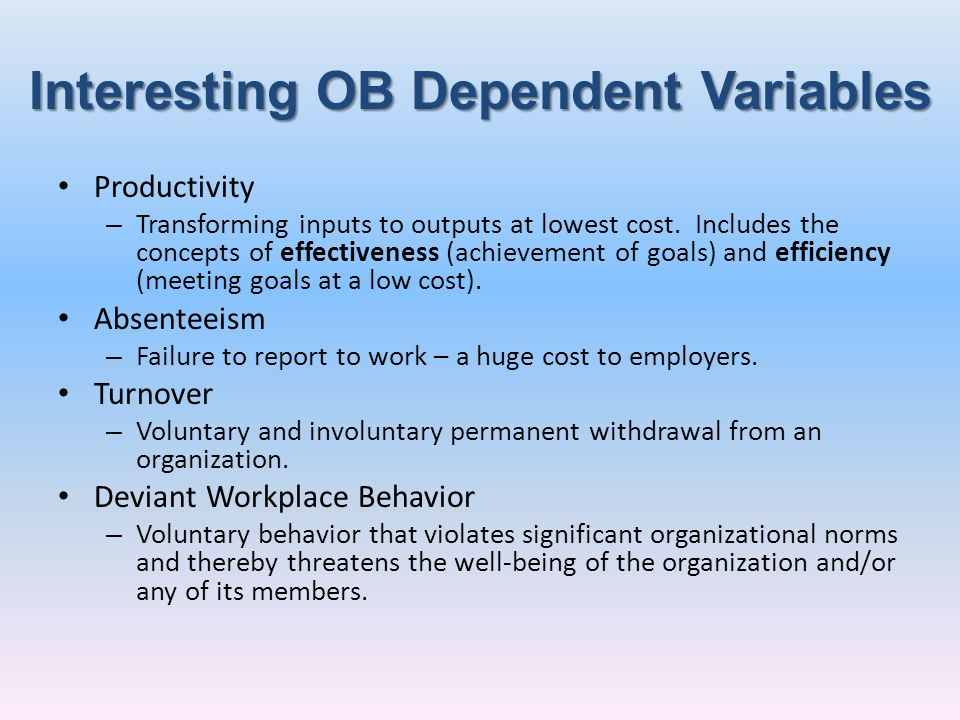 Interesting OB Dependent Variables