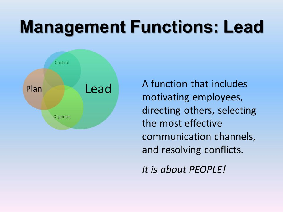 Management Functions: Lead