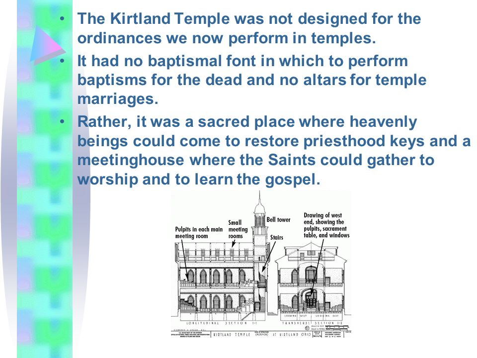 The Kirtland Temple was not designed for the ordinances we now perform in temples.