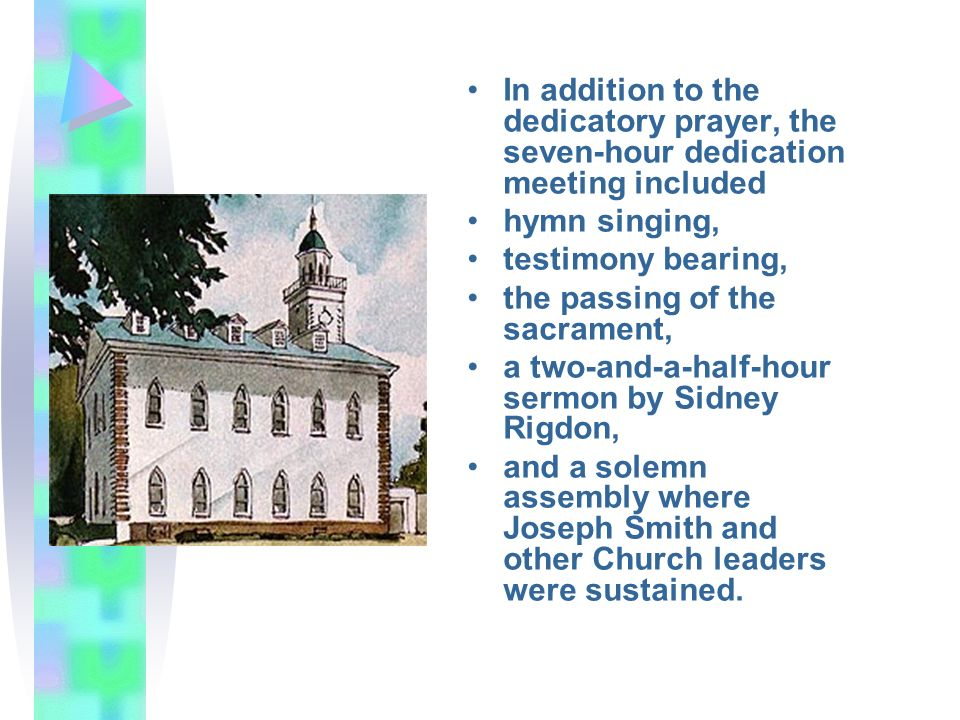 In addition to the dedicatory prayer, the seven-hour dedication meeting included