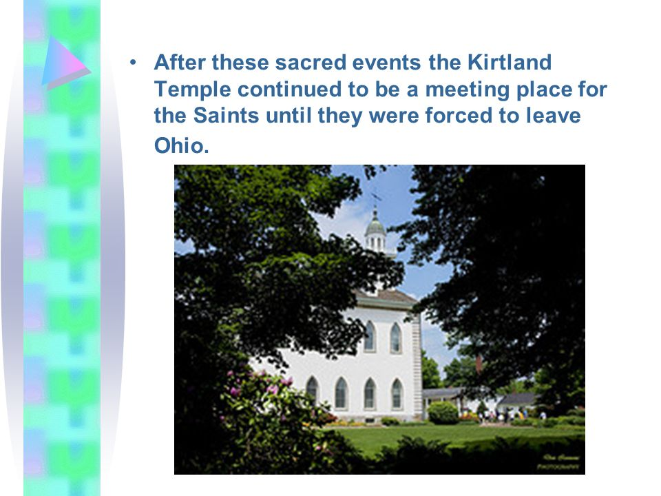 After these sacred events the Kirtland Temple continued to be a meeting place for the Saints until they were forced to leave Ohio.
