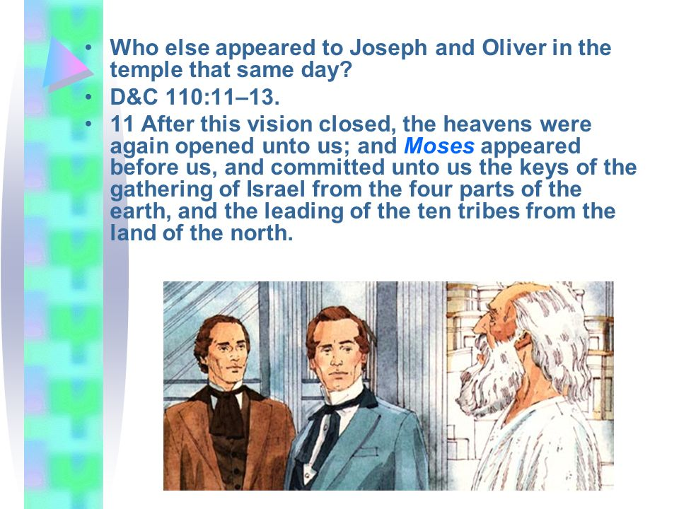 Who else appeared to Joseph and Oliver in the temple that same day
