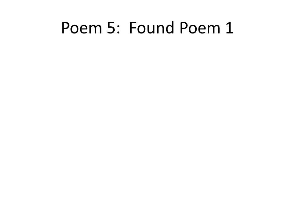 Poem 5: Found Poem 1