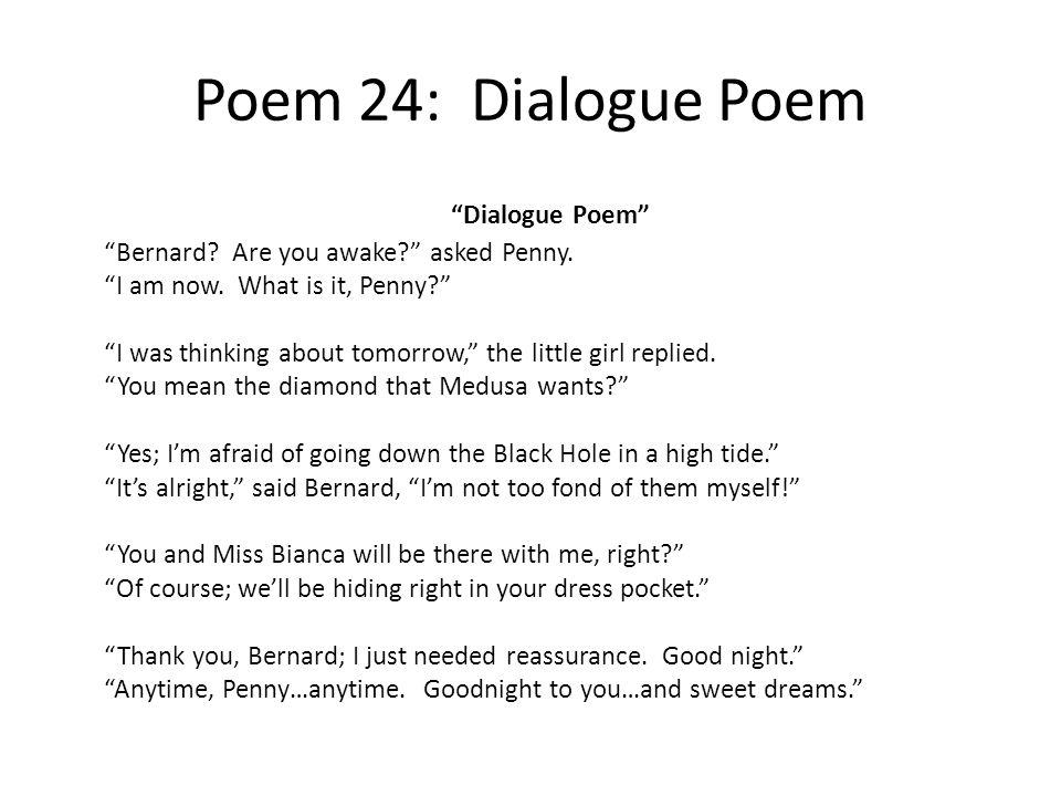 Poem 24: Dialogue Poem Dialogue Poem