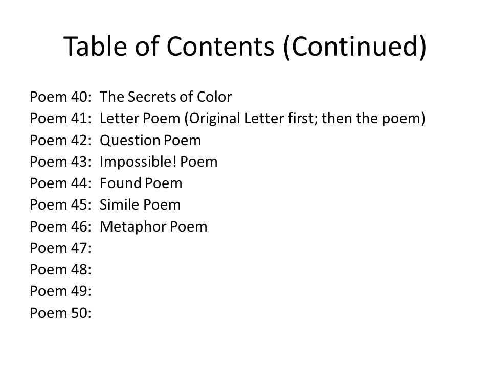 Table of Contents (Continued)