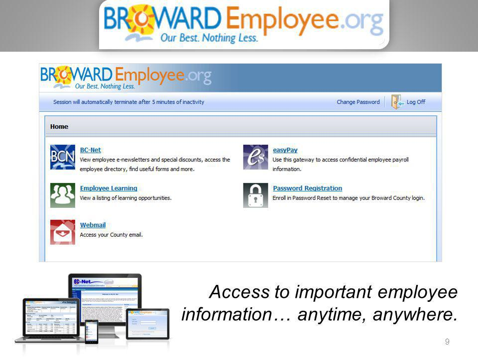 Access to important employee information… anytime, anywhere.
